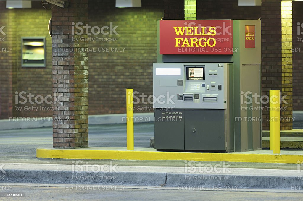 Wells Fargo ATM in the early evening stock photo