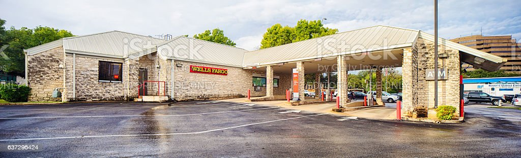 Wells fargo bank and drive through ATMs panorama stock photo