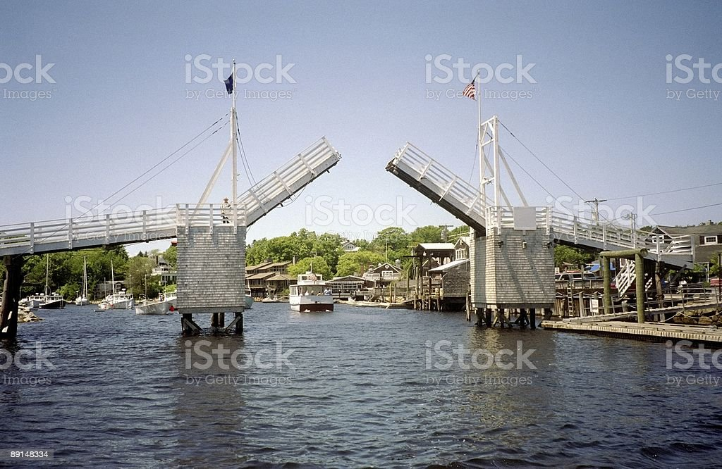Wells Harbour Drawbridge-Maine stock photo
