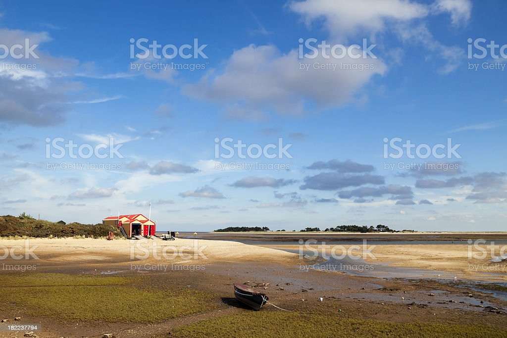 Wells next the Sea lifeboat house at low tide stock photo