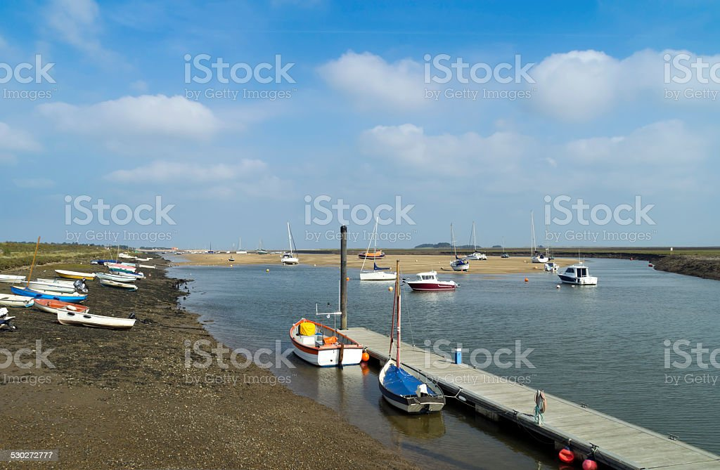 Wells-Next-The-Sea channel at low tide stock photo