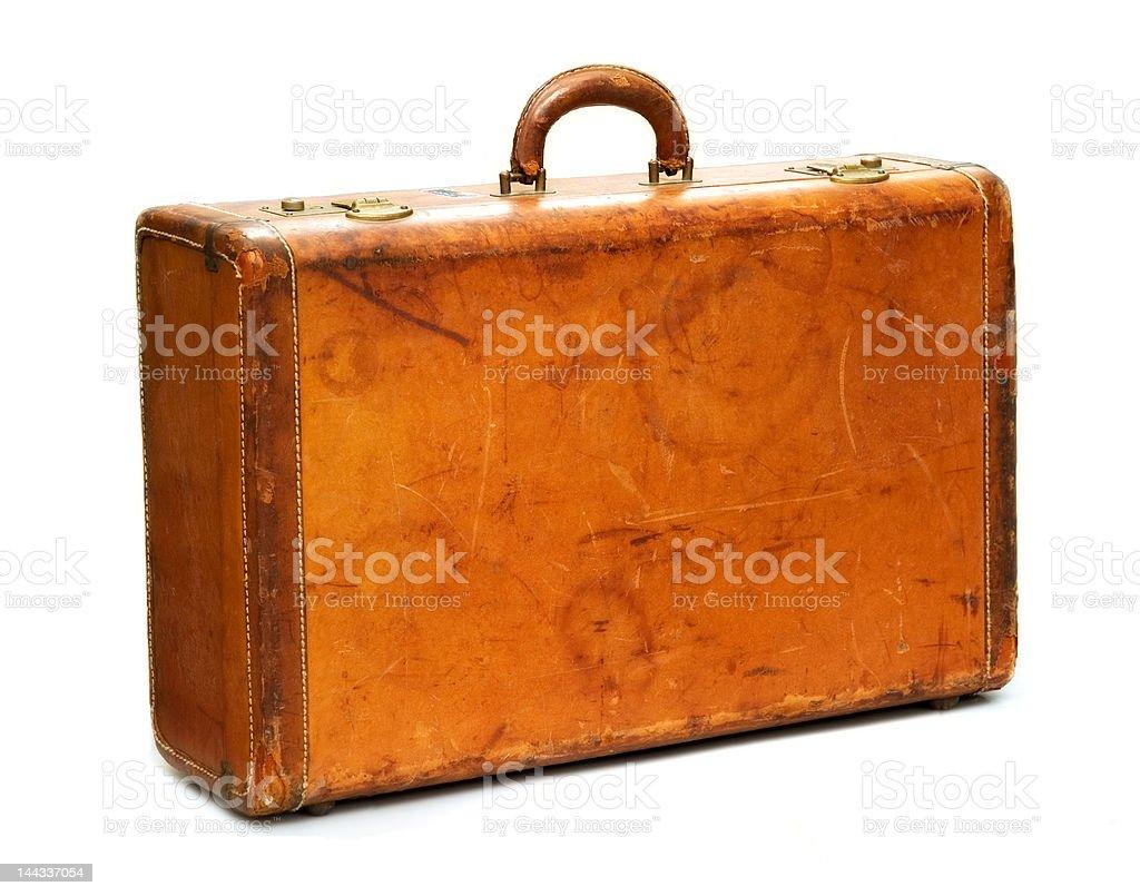 Well-Traveled Vintage Suitcase stock photo