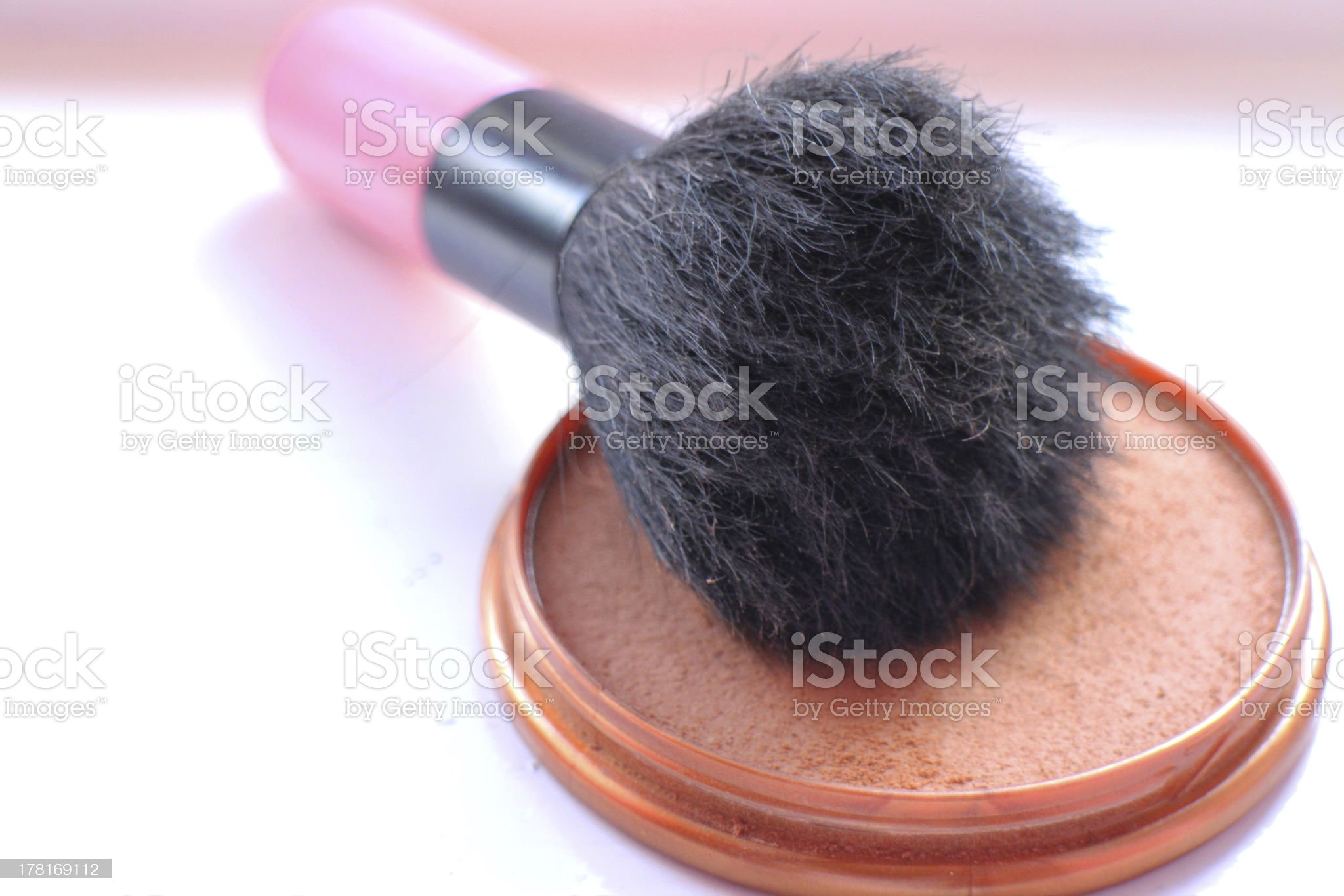 Well-used make up brush with powder. royalty-free stock photo