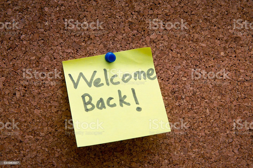 welome back post it stock photo