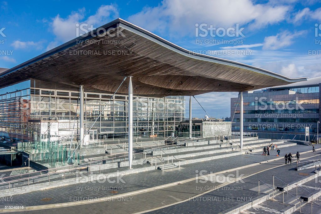 Welsh Assembly Building at Cardiff Bay, UK stock photo