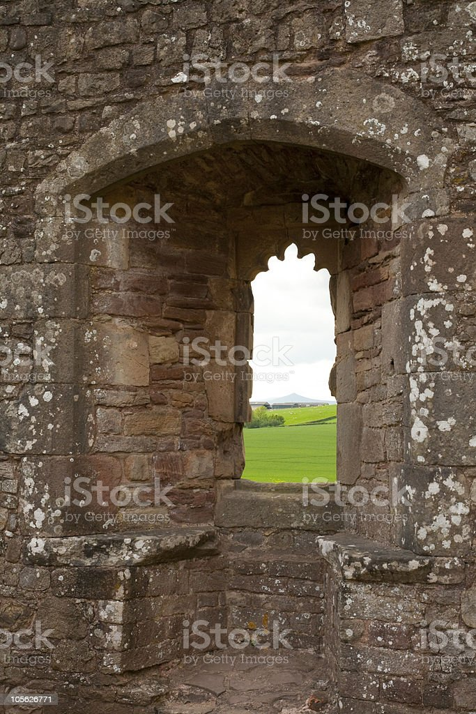 Welsh Castle Wall stock photo