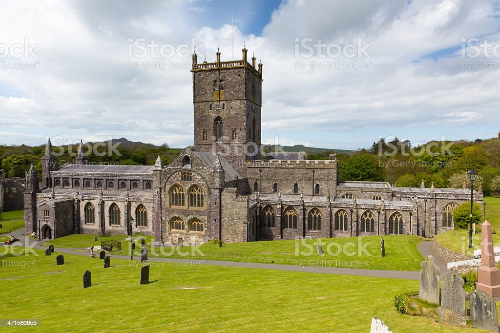 Welsh Cathedral at St Davids City Pembrokeshire Wales royalty-free stock photo