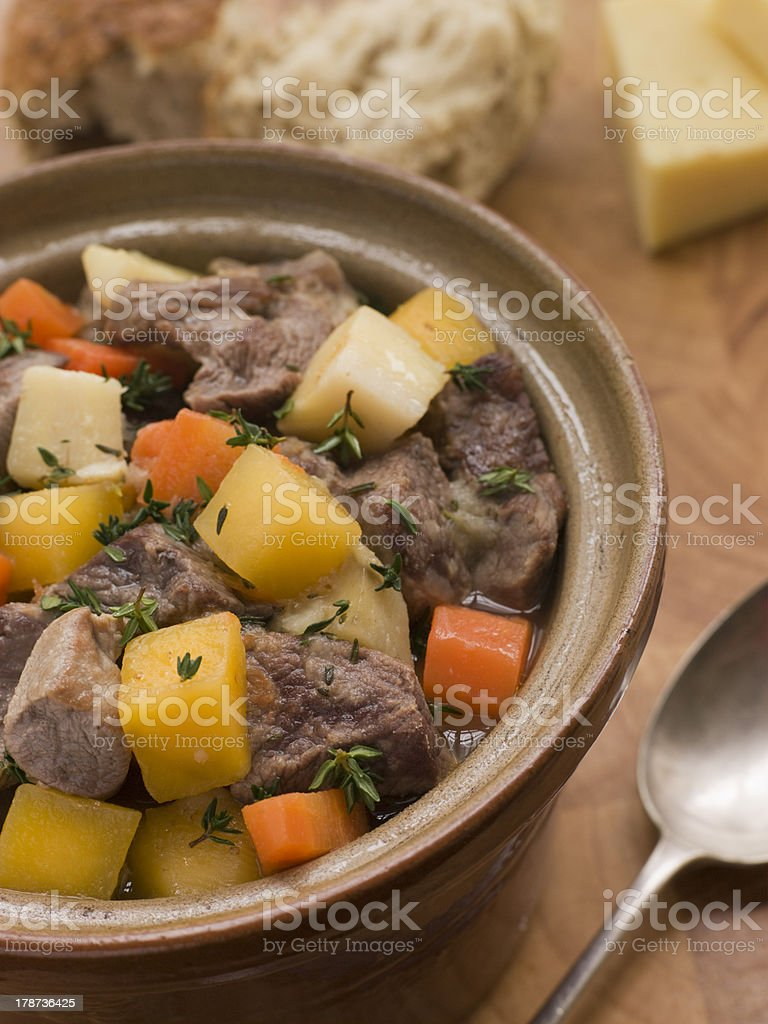Welsh Cawl in a Casserole Pot royalty-free stock photo
