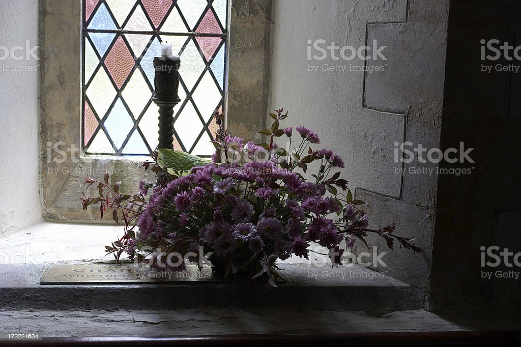 Welsh country church interior window royalty-free stock photo