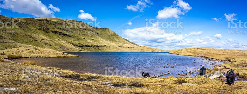 Welsh countryside and lake at Llynyfan Fawr stock photo