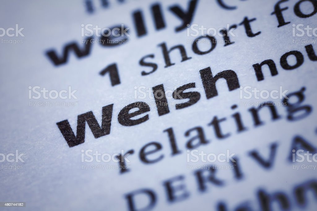 Welsh: Dictionary Close-up stock photo