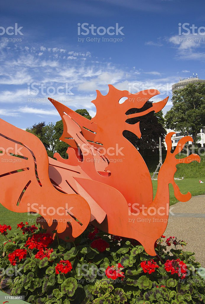 Welsh Dragon in Cardiff, Wales stock photo