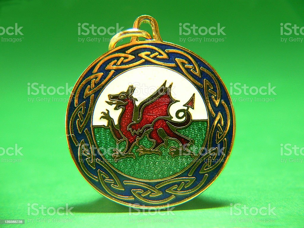 Welsh Dragon key fob stock photo