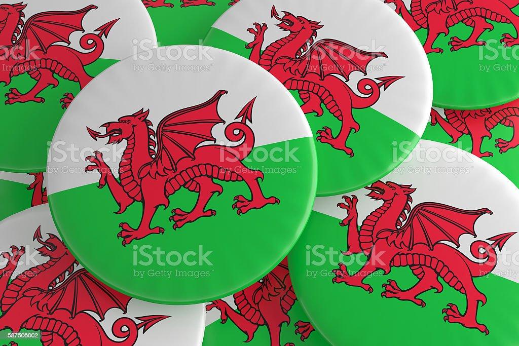Welsh Dragon: Pile of Wales Flag Badges, 3d illustration stock photo