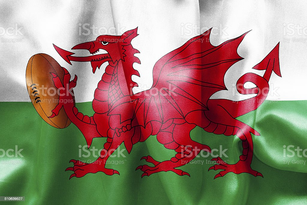 Welsh Dragon Rugby Ball Flag stock photo