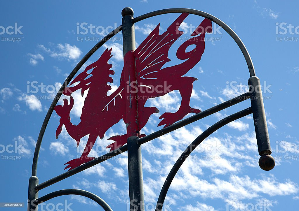 Welsh Dragon Sign, Millennium Coastal Path, Llanelli, South Wales stock photo
