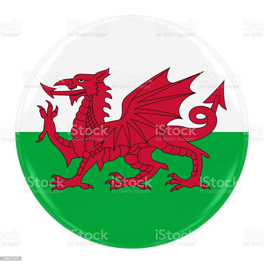 Welsh Flag Badge stock photo