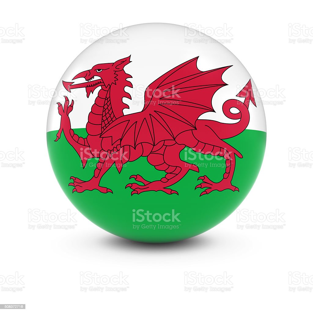 Welsh Flag Ball - Flag of Wales on Isolated Sphere stock photo