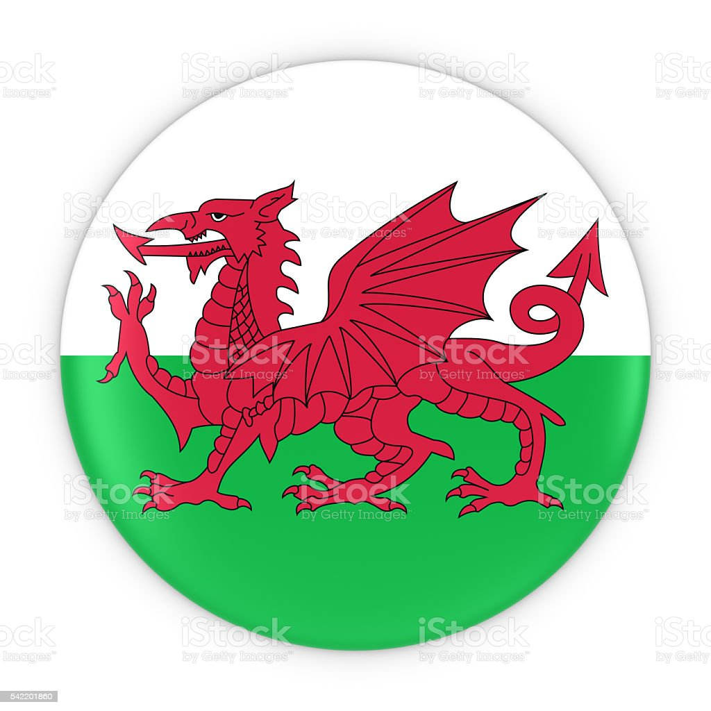 Welsh Flag Button - Flag of Wales Badge 3D Illustration stock photo
