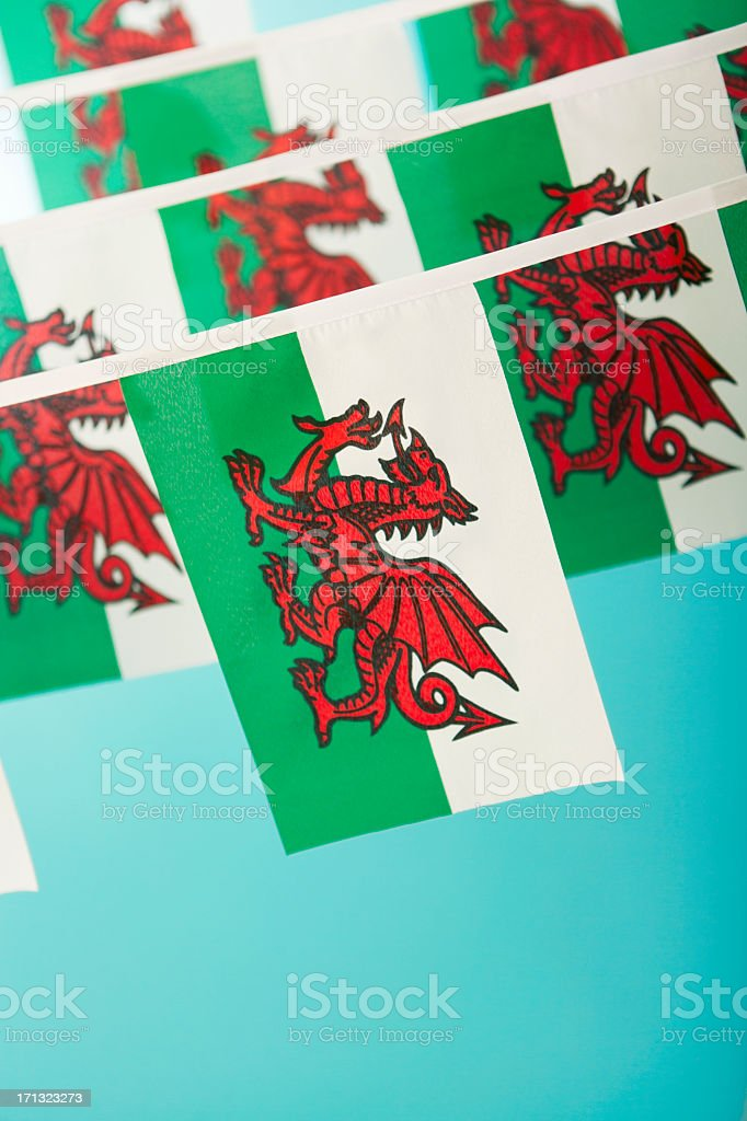 Welsh flag celebratory bunting stock photo