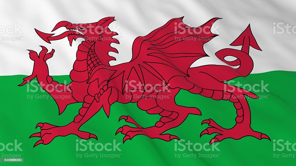 Welsh Flag HD Background - Flag of Wales 3D Illustration stock photo