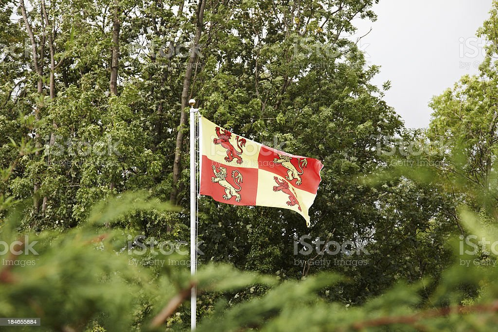 Welsh flag of Gwynedd blowing in the wind royalty-free stock photo