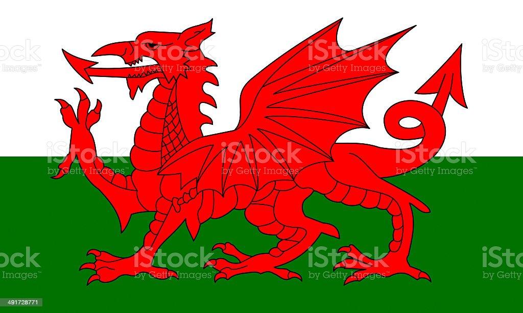 welsh flag vector art illustration