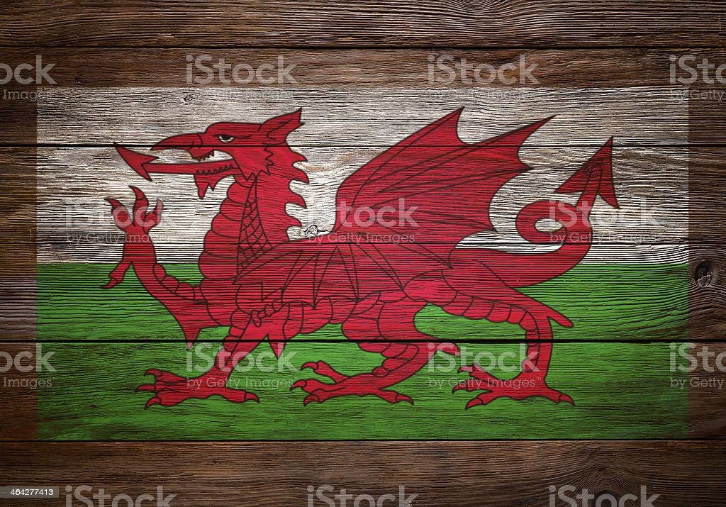 Welsh Flag Stencilled on Wood royalty-free stock photo