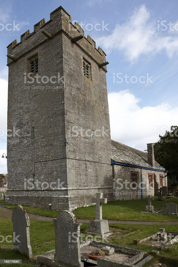 Welsh graveyard and church royalty-free stock photo