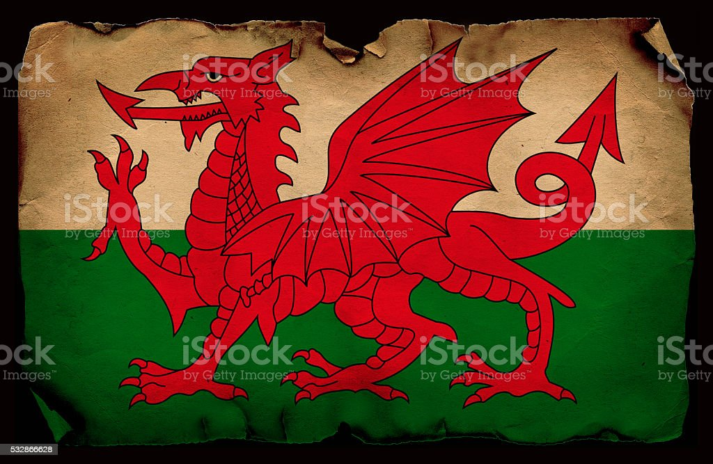 Welsh  grunge flag stock photo
