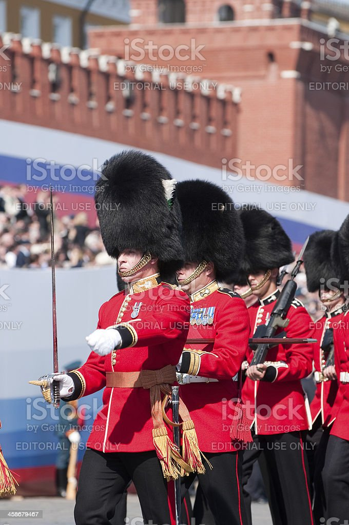 Welsh Guards Regiment on 9May Victory Day Parade in Moscow royalty-free stock photo