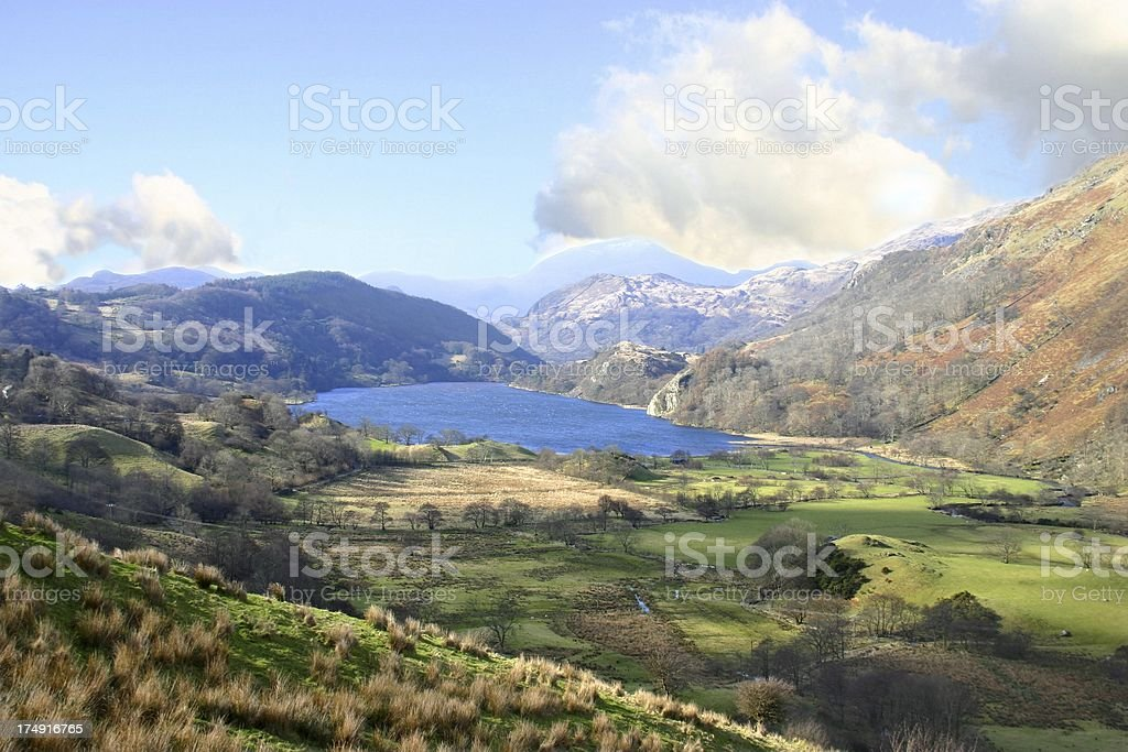 Welsh landscape on a hazy afternoon stock photo