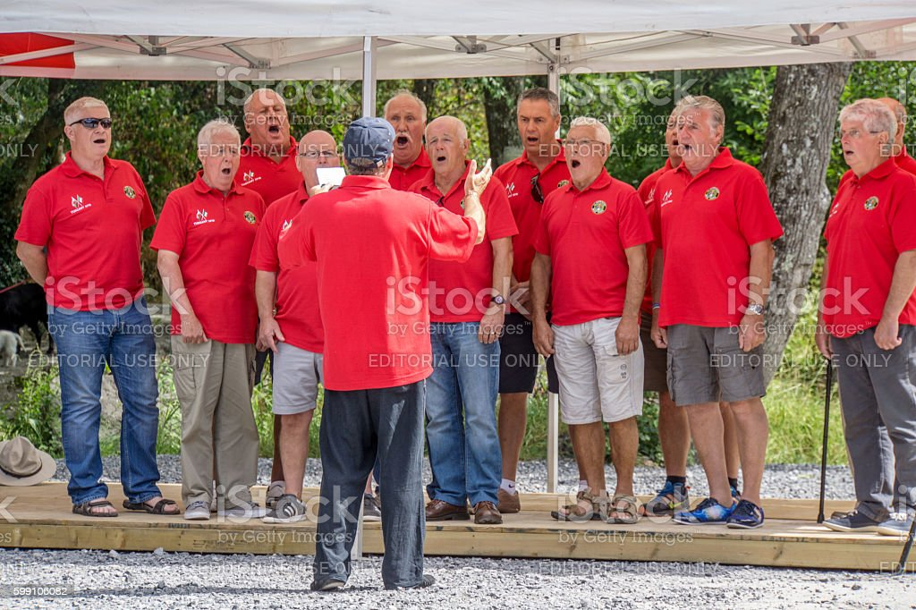 Welsh Male Voice Choir singing stock photo