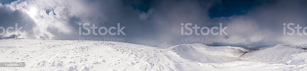 Welsh mountains snow summit sunburst stock photo