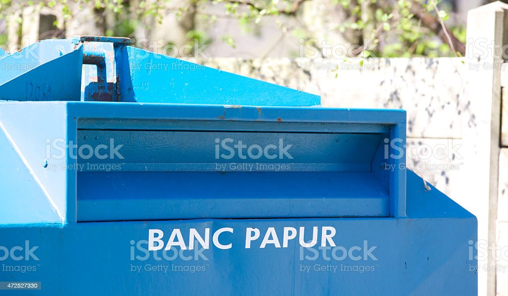 Welsh paper bank for  recycling paper stock photo