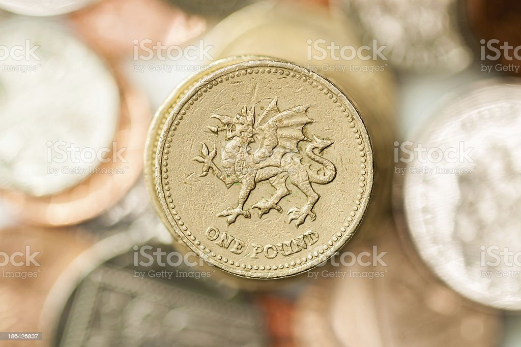 Welsh Pound Coin stock photo