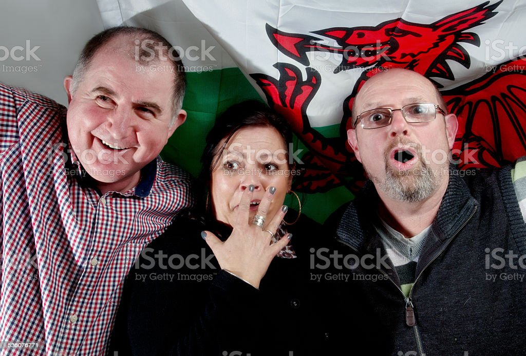 Welsh rugby supporters stock photo