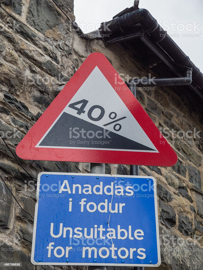 Welsh traffic sign stock photo