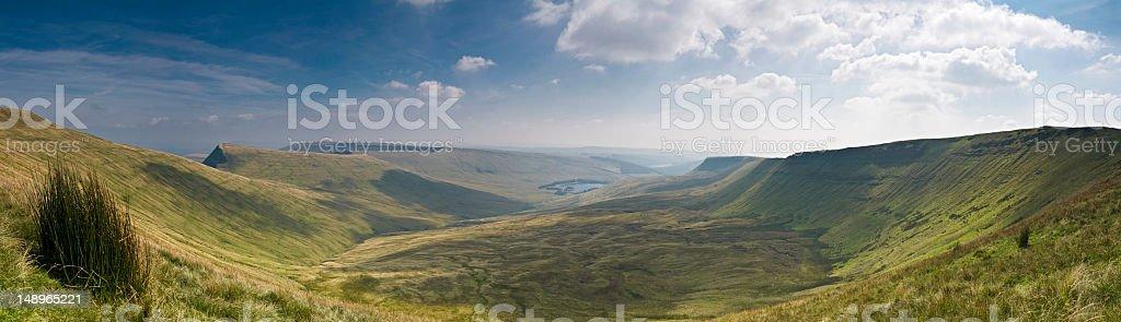 Welsh valley panoramic vista stock photo