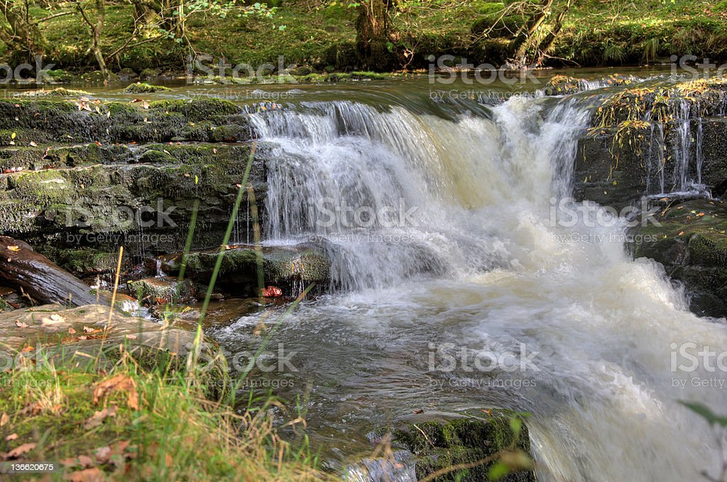Welsh waterfall on edge of the Brecon Beacons royalty-free stock photo