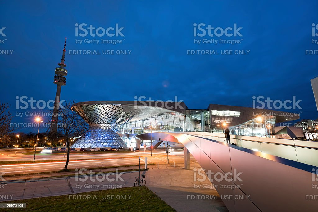 BMW Welt and Munich Television Tower stock photo