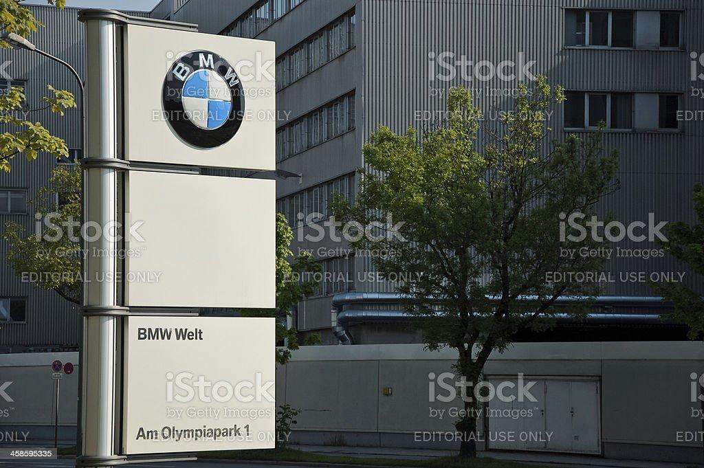 BMW Welt sign stock photo