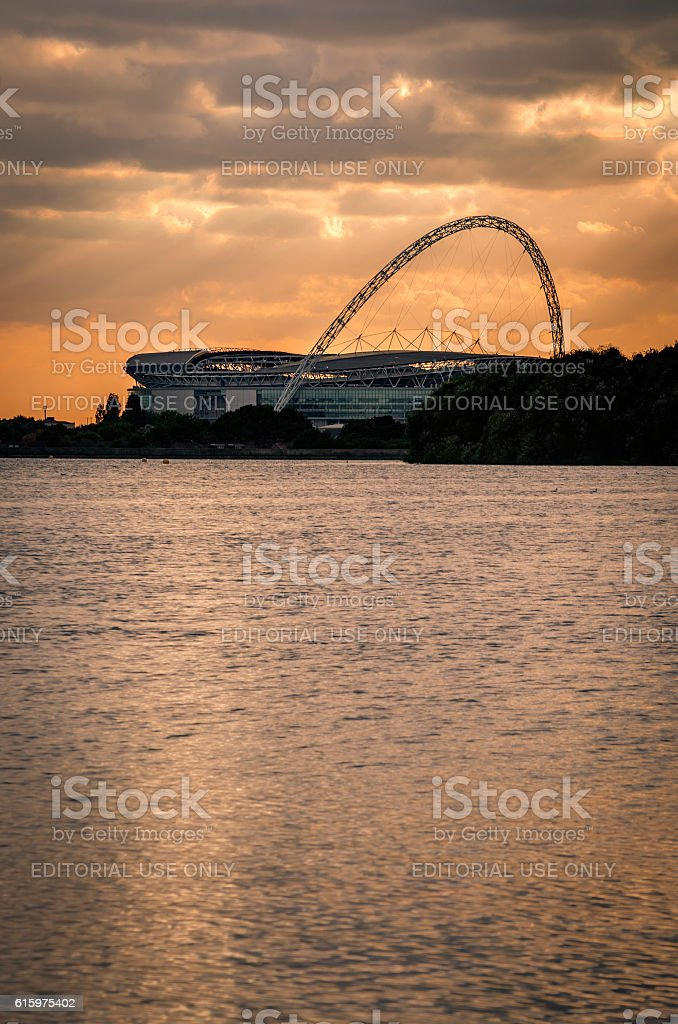 Wembley stadium from across the lake stock photo