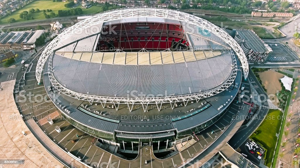 Wembley Stadium on October 10, 2016 in London, England. Aerial View Photo of Iconic Football Arena Wembley Stadium stock photo