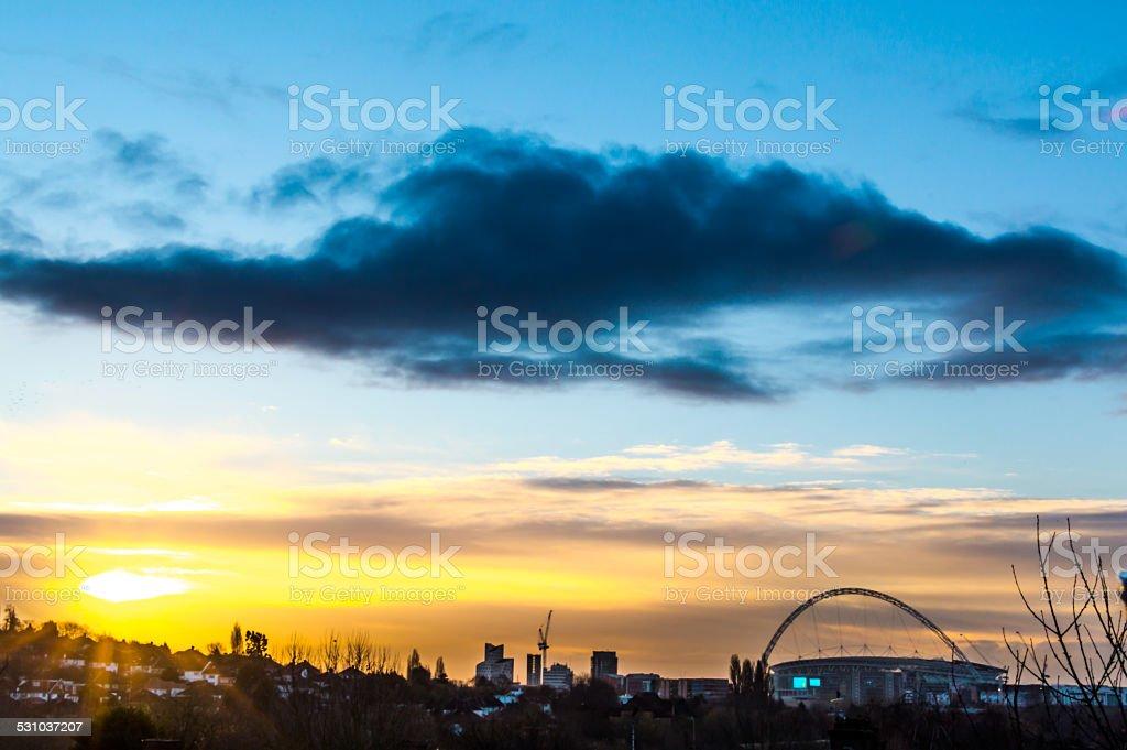 wembley stadium sunrise stock photo