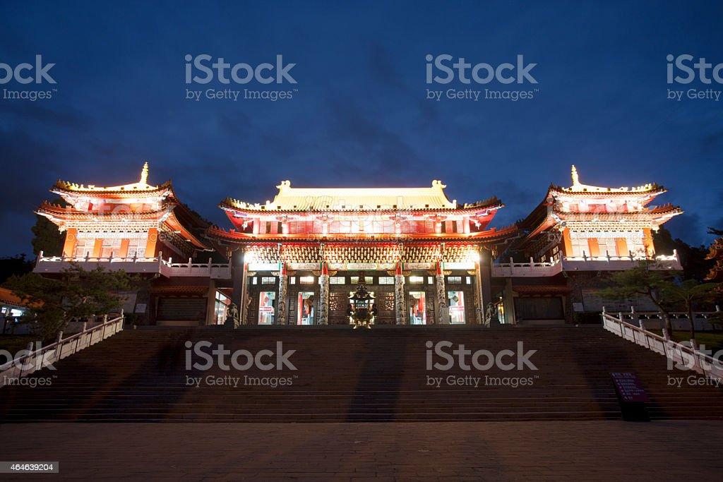Wen Wu Temple at night, Sun Moon Lake, Taiwan stock photo