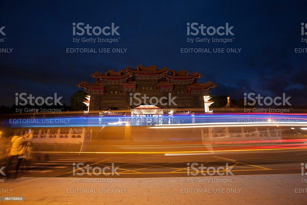 Wen Wu Temple gate, light streaks, Sun Moon Lake, Taiwan stock photo