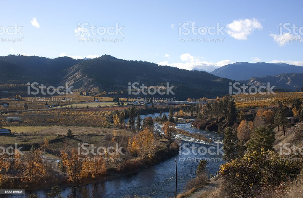 Wenatchee River Autumn stock photo