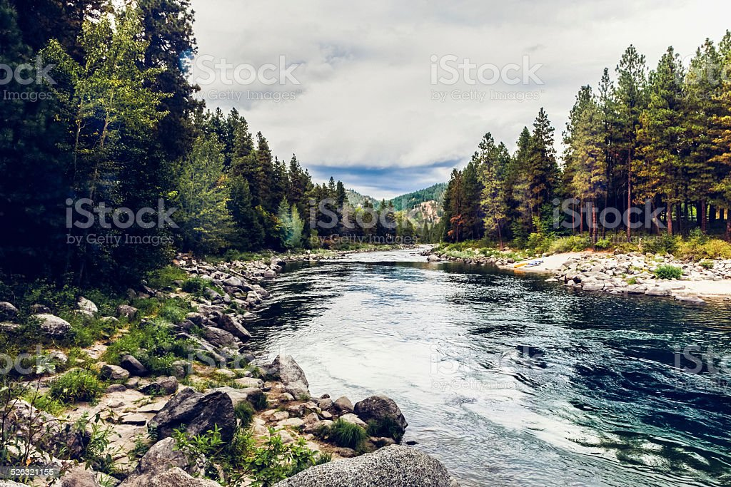 Wenatchee River & Forest near Leavensworth, Washington state stock photo