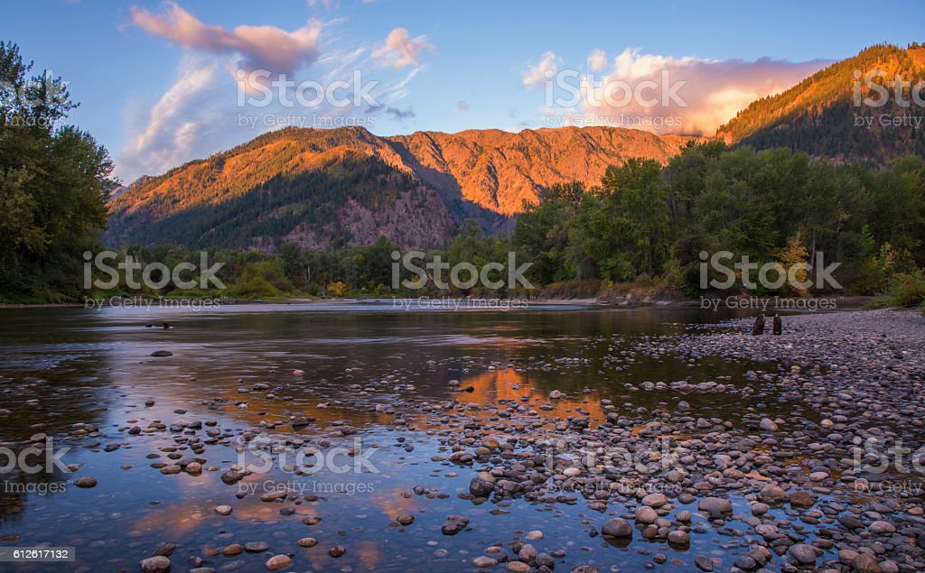 Wenatchee River in Leavenworth stock photo